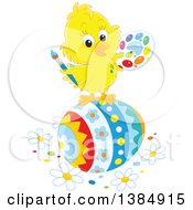 Clipart Of A Cute Yellow Chick Painting A Giant Easter Egg Royalty Free Vector Illustration