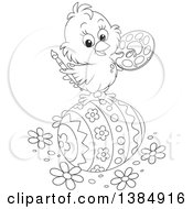 Clipart Of A Cute Black And White Chick Painting A Giant Easter Egg Royalty Free Vector Illustration