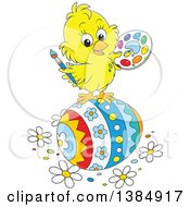 Cute Cartoon Yellow Chick Painting A Giant Easter Egg