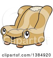 Clipart Of A Cartoon Happy Brown Or Gold Chair Character Royalty Free Vector Illustration