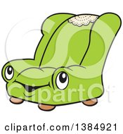 Clipart Of A Cartoon Happy Green Chair Character Royalty Free Vector Illustration