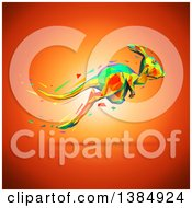 Clipart Of A Colorful Low Poly Geometric Kangaroo Hopping On An Orange Background Royalty Free Illustration