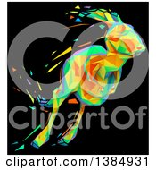 Clipart Of A Colorful Low Poly Geometric Kangaroo Hopping On A Black Background Royalty Free Illustration by Julos