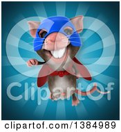 Clipart Of A 3d Super Hero Mouse On A Blue Background Royalty Free Illustration