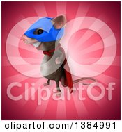 Clipart Of A 3d Super Hero Mouse On A Pink Background Royalty Free Illustration
