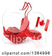 Clipart Of A 3d Red Lobster Holding A Canadian Flag On A White Background Royalty Free Illustration