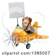 3d Male Lion Flying An Airplane On A White Background