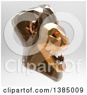 3d Low Poly Geometric Male Lion Head On A Gray Background