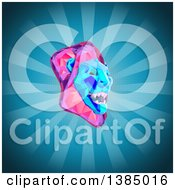 3d Low Poly Geometric Male Lion Head On A Blue Background