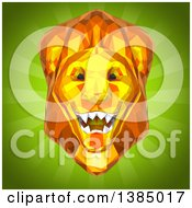 3d Low Poly Geometric Male Lion Head On A Green Background
