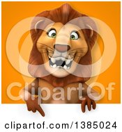 3d Male Lion On An Orange Background