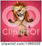 3d Male Lion On A Pink Background