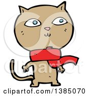 Clipart Of A Cartoon Tan Kitty Cat Wearing A Scarf Royalty Free Vector Illustration