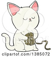 Clipart Of A Cartoon White Kitty Cat Playing With A Ball Of Yarn Royalty Free Vector Illustration
