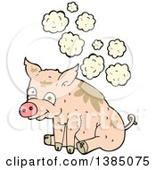 Clipart Of A Cartoon Stinky Pink Pig Royalty Free Vector Illustration by lineartestpilot