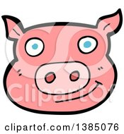 Clipart Of A Cartoon Pink Pig Royalty Free Vector Illustration by lineartestpilot