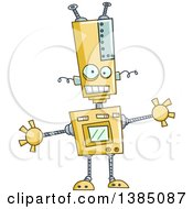 Clipart Of A Cartoon Welcoming Robot With Open Arms Royalty Free Vector Illustration by yayayoyo