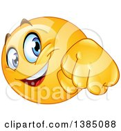 Clipart Of A Yellow Emoji Smiley Face Emoticon Doing A Fist Bump Royalty Free Vector Illustration