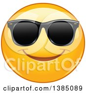 Clipart Of A Yellow Emoji Smiley Face Emoticon Wearing Sunglasses Royalty Free Vector Illustration