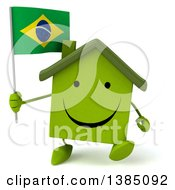 Clipart Of A 3d Green Home Character On A White Background Royalty Free Illustration