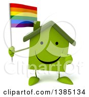 Clipart Of A 3d Green House Character On A White Background Royalty Free Illustration