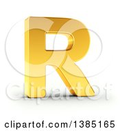 Clipart Of A 3d Golden Capital Letter R On A Shaded White Background With Clipping Path Royalty Free Illustration by stockillustrations