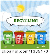 Clipart Of A Cartoon Row Of Cololorful Talking Recycle Bin Characters Against A Sunny Sky Royalty Free Vector Illustration by Hit Toon