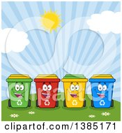 Clipart Of A Cartoon Row Of Cololorful Happy Recycle Bin Characters Against A Sunny Sky Royalty Free Vector Illustration by Hit Toon