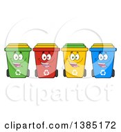 Clipart Of A Cartoon Row Of Cololorful Happy Recycle Bin Characters Royalty Free Vector Illustration