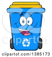 Clipart Of A Cartoon Blue Recycle Bin Character Smiling Royalty Free Vector Illustration by Hit Toon
