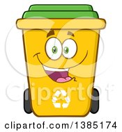 Clipart Of A Cartoon Yellow Recycle Bin Character Smiling Royalty Free Vector Illustration by Hit Toon