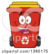 Clipart Of A Cartoon Red Recycle Bin Character Smiling Royalty Free Vector Illustration by Hit Toon