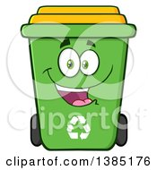 Clipart Of A Cartoon Green Recycle Bin Character Smiling Royalty Free Vector Illustration by Hit Toon