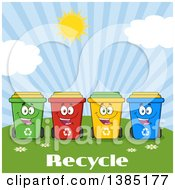 Clipart Of A Cartoon Row Of Cololorful Happy Recycle Bin Characters Against A Sunny Sky Over Text Royalty Free Vector Illustration by Hit Toon