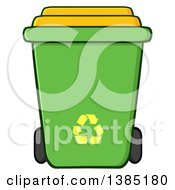 Clipart Of A Cartoon Green Recycle Bin With Yellow Arrows Royalty Free Vector Illustration by Hit Toon