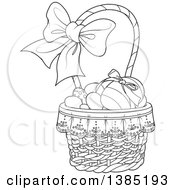 Black And White Lineart Basket Of Easter Eggs With A Bow On The Handle