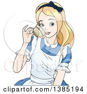 Clipart Of A Comic Styled Alice Drinking From A Tea Cup With Dots Royalty Free Vector Illustration by Pushkin