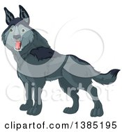 Clipart Of A Cute Happy Gray Wolf Royalty Free Vector Illustration