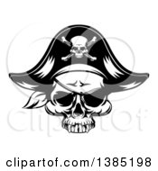 Clipart Of A Black And White Pirate Skull Wearing A Patch And Captain Hat Royalty Free Vector Illustration