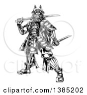 Clipart Of A Black And White Engraved Samurai Warrior Holding Swords Royalty Free Vector Illustration by AtStockIllustration
