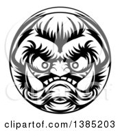 Clipart Of A Black And White Grinning Samurai Demon Monster Face Royalty Free Vector Illustration by AtStockIllustration