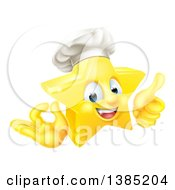 Clipart Of A 3d Happy Golden Chef Star Emoji Emoticon Character Giving A Thumb Up And Gesturing Ok Royalty Free Vector Illustration