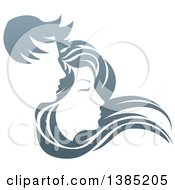 Clipart Of A Gradient Couple With Long Hair Waving In The Wind Royalty Free Vector Illustration