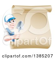 Clipart Of A Happy Young Brunette White Male Gardener In Blue Holding A Hand Spade Shovel Around A Blank Scroll Sign Royalty Free Vector Illustration