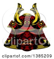 Clipart Of A Red Samurai Mask Royalty Free Vector Illustration by AtStockIllustration