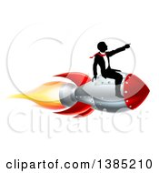 Clipart Of A Silhouetted Businessman Sitting On A 3d Rocket And Pointing Forward Royalty Free Vector Illustration