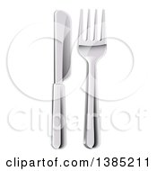 Clipart Of A 3d Butter Knife And Fork Royalty Free Vector Illustration