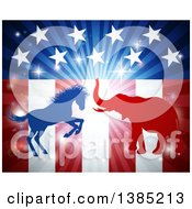 Clipart Of A Silhouetted Political Aggressive Democratic Donkey Or Horse And Republican Elephant Fighting Over An American Flag And Burst Royalty Free Vector Illustration