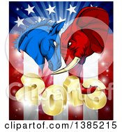 Clipart Of A Political Aggressive Democratic Donkey Or Horse And Republican Elephant Butting Heads Over A 2016 American Flag And Burst Royalty Free Vector Illustration