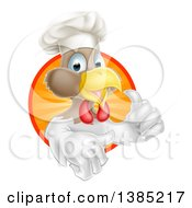 Poster, Art Print Of Happy White And Brown Chef Chicken Giving A Thumb Up And Emerging From A Circle Of Sun Rays